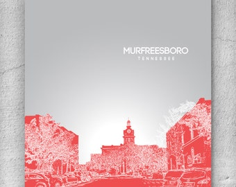 Murfreesboro Tennessee City Skyline / Office Art for Dad / Home Wall Art / Pop Art Gift / Choose your colors / Any City Available
