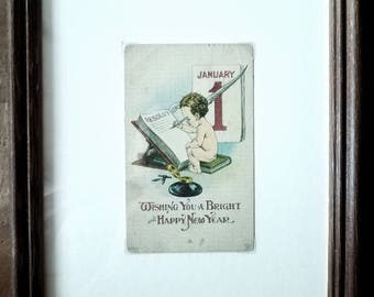 Antique New Years Postcard by S Bermay, Antique Postcards, Vitage Postcard, Home Decor