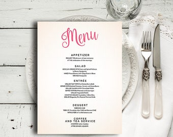 Printable menu | wedding menu template | Editable menu | Dinner menu card | Wedding menu cards | Diy menu template Menu download drink menu