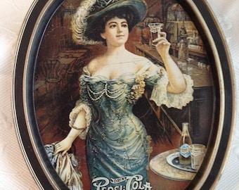 "Vintage Pepsi metal tray - vintage serving tray - ""Gibson Girl Blue"""