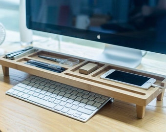Wooden Keyboard Rack Desktop Accessories Storage Desk Organizer Holder Shelf