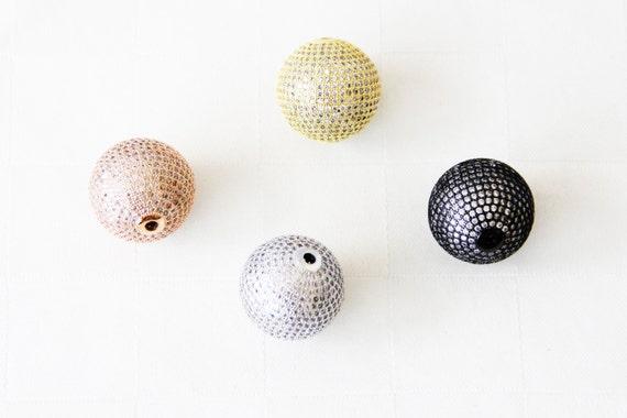CZ Micro Pave 25mm Round beads