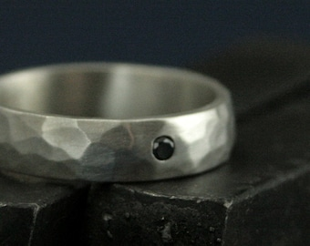 Black Diamond Band--5mm Wide Perfect Hammered Band--Flat Set Black Diamond--Solid Sterling Silver Wedding Ring--Hammered Wedding Band