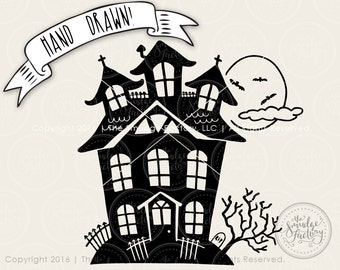 Haunted House SVG Cut File, Halloween Cutting File, Hand Lettered Silhouette Cut File, Cricut Trick Or Treat SVG Halloween Graphic Overlay
