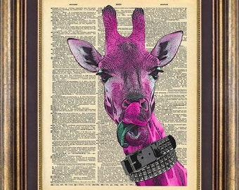 Giraffe PiNK Dictionary Page ORIGINAL Unique gift art print book page art print up cycled
