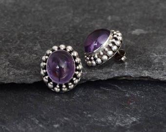 Amethyst Earrings, Amethyst Studs, Silver Stud Earrings, February Birthstone, Birthstone Jewellery, Cabochon Amethyst, Sterling Silver