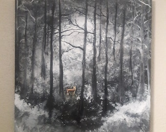 Orginal acrylic painting 20x20 Deer In The Woods