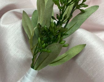 Boutonnière with Olive Greenery and Seeded Eucalyptus by The Chattanooga Wreath Company