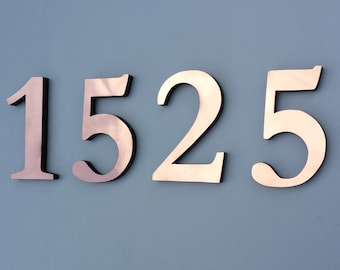 """Traditional Copper Block 3D house numbers  6""""/150 mm in Garamond font,   laquered, standoff/floating fitting g"""