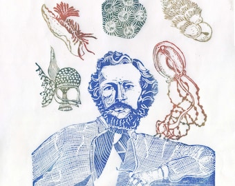 Ernst Haeckel and his Creatures Linocut - Jellyfish, Forams, Nudibranch and More - History of Science Print Portrait with Sea Creatures