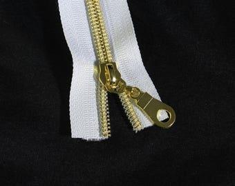 White Zipper by the Yard with Gold Coil & Zipper Pulls, Nylon Metallic Zipper Kit, #5 White Zipper Tape with Gold teeth