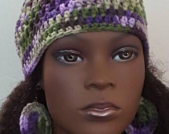 Lilac Fields Crochet Skullcap Beanie with Earrings by Razonda Lee Razondalee