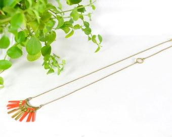 """Half Moon fringes Necklace Tangerine orange Boho chic style """"Lune"""""""