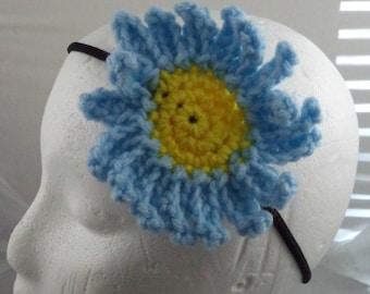 Crocheted Daisy Headband - Light Blue (SWG-HH-FLDA01)