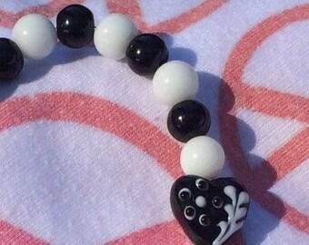 Black and white heart bracelet, love bracelet, black and white heart jewelry, love jewelry, heart bracelet, gift for her