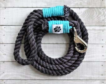 Black and Teal Cotton Rope Dog Leash - Dog Leash -  100% Cotton Rope - Pet Collars and Leashes