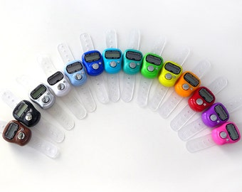 Digital Row Counter - Finger Tally Count with LCD Screen - Hands Free Counting for Knitters and Crocheters - Fifteen Colors Available!
