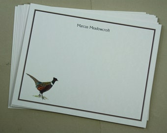 Pheasant Game Bird Masculine Custom Notecard Stationery. Thank You, Any Occasion, Personalize Watercolor Print, Set of 10.