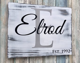 Rustic Family Sign, Family Initial Sign, Last Name Sign, Family Name Sign, Family Established Sign, Wooden Family Sign, Living Room Decor