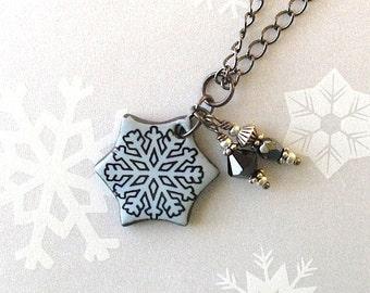 SALE! Snowflake Pendant Necklace. Light Blue. Ceramic. Glass Beads. Black Porcelain. Gray Blue. Snow. Clay. Winter. Gunmetal Chain. Skier