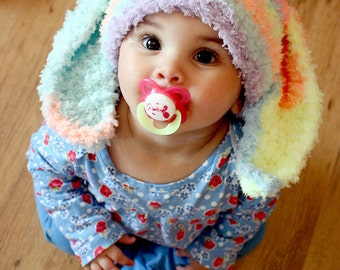 6 to 12m Baby Bunny Hat Baby Beanie Crochet Easter Baby Hat in Rainbow Spray Rabbit Hat For Girls Photo Prop    Crochet Baby Gift