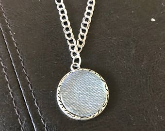 Silver color chain, silver color pendant and recycled denim Necklace.