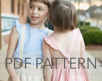 Macy Pinafore PDF, suspender skirt pdf, pinafore pattern, toddler pinafore, sewing patterns, tween skirt pdf,pinny pattern,kids pinafore pdf