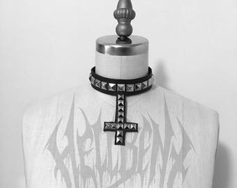 Hellbent Angelripper Studded Inverted Cross Leather Choker - Studded Collar - Studded Choker - Handmade