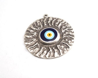 1pc - Matte Silver Plated Rustic Circle evil eye pendant-70x70mm (420-025SP)