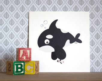 Billy the vegetarian orca, Print 15x15cm