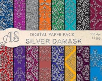 Digital Floral Silver Damask Paper Pack, 16 printable Digital Scrapbooking papers, damask Digital Collage, Instant Download, set 310