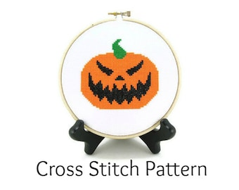 Jack O' Lantern Carved Halloween Pumpkin Cross Stitch Pattern
