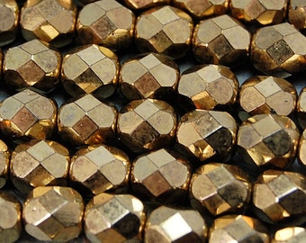 Bronze Czech Glass Firepolished Faceted 6mm Beads -25