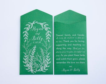 50+ Herb Custom Seed Packet Wedding Favors Envelopes - Unique Seed Packet Wedding Favor - Custom Seed Packet - Many Colors Available