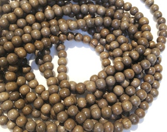 6mm Graywood Natural Wood Beads 16 inch Strand, 72 Beads for Mala Necklaces