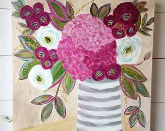 Peonies and Hydrangeas Original Flower Painting