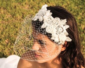 Bridal Birdcage, Bridal headpiece, Bridal veil