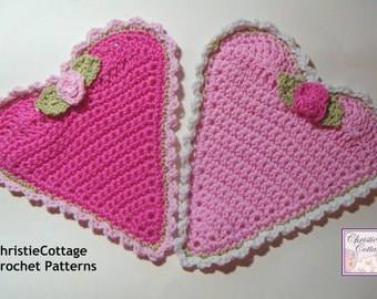Heart Washcloth, Crochet Pattern, PDF 014