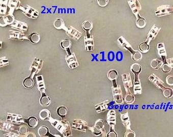 Lot 100 crimp caps silver 2x7mm