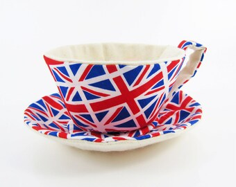 MADE-TO-ORDER ( 1 - 2 Weeks)- Textile Teacup Tidy-Union Jack Flags