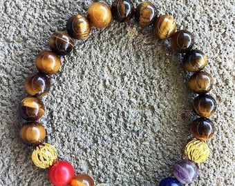 Please 'Chakras balance' energized Bracelet, well being, zen, meditation, Tiger eye and mineral stones
