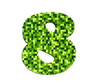 Gaming Birthday Number, Gamer, Minecraft Inspired Extra Large Birthday Number ...Fabric Iron On Applique
