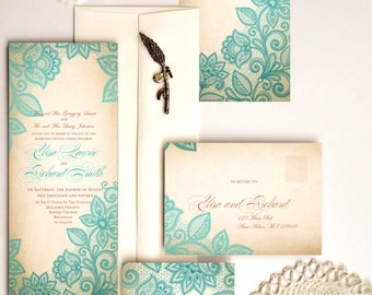 Lace wedding invitations - Elegant wedding invitations with lace - {Lindsay design (green lace version)}
