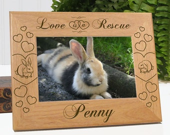FREE SHIPPING - Love Is A Rescue - Personalized Rabbit Lover Picture Frame | Bunny Lover Gift