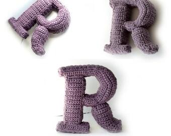 Letter R Crochet Pattern, 3D Alphabet crochet pattern, 3d words pattern, 3d letters pattern, words home deco, decorative letters crochet