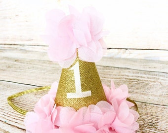 Baby Girl Birthday Hat Cake Smash Pink and Gold Glitter Photo Prop First 1st Birthday