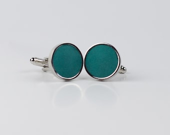 Teal Leather Cufflinks