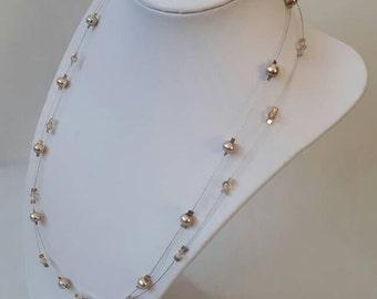 Champagne Swarovski illusion necklace - champagne illusion necklace, Swarovski necklace, wedding jewellery, exposed wire necklace, bridal
