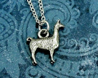 Silver Llama Necklace, Llama Charm, Llama Pendant, Llama Jewelry, Llama Gift