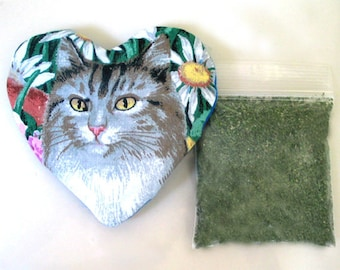 Catnip Heart Toy with Catnip Small Size Refillable  Tabby Tiger Cat